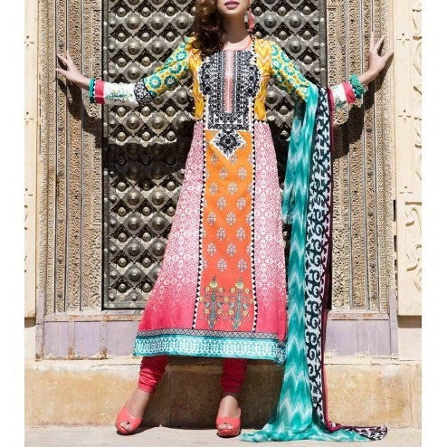 Pink Cotton Unstitched Churidar Suit (100000060656) - rang