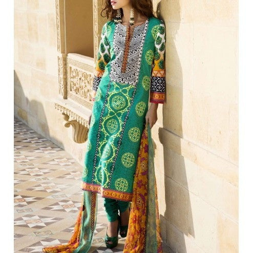 Green Cotton Unstitched Churidar Suit