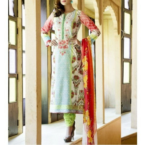 Cream & Blue Cotton Unstitched Churidar Suit