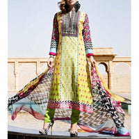 Yellow & Green Cotton Unstitched Churidar Suit