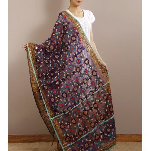 Purple Chanderi Silk Phulkari Dupatta - rang