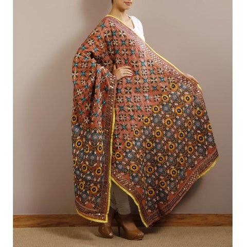 Orange Chanderi Silk Phulkari Dupatta