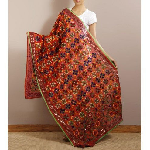 Red Chanderi Silk Phulkari Dupatta