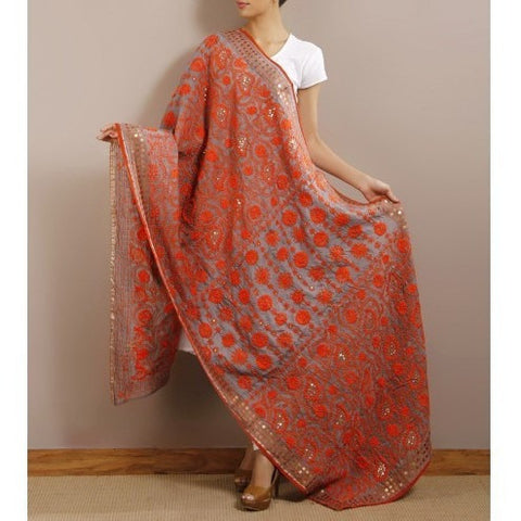 Grey Chanderi Silk Phulkari Dupatta