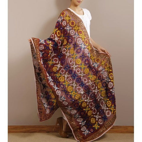 Brown Chanderi Silk Phulkari Dupatta