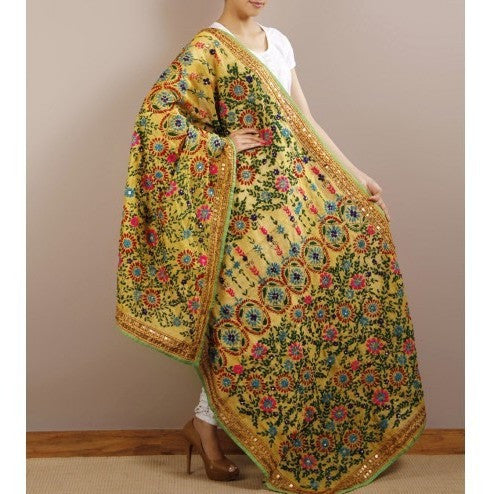 Yellow Chanderi Silk Phulkari Dupatta