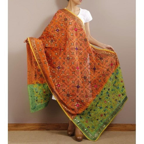 Orange Chanderi Silk Phulkari Dupattas (100000061127)