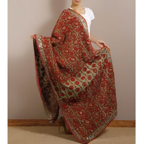 Red Chanderi Silk Phulkari Dupattas