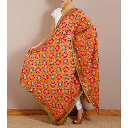 Orange Chanderi Silk Phulkari Dupattas (100000061132) - rang