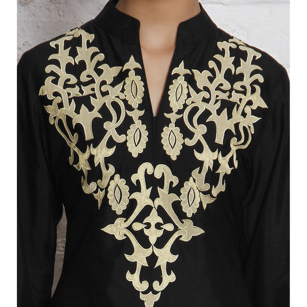 Black Embroidered Katan Silk Kurti - rang