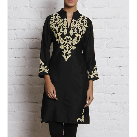Vedanta - Black Embroidered Katan Silk Kurti