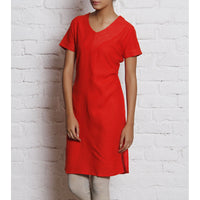 Orange Embroidered Linen Kurti - rang