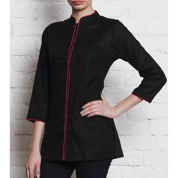 Black Embroidered Cotton Cambric Shirt - rang