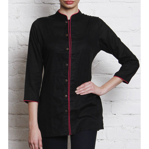 Vedanta - Black Embroidered Cotton Cambric Shirt