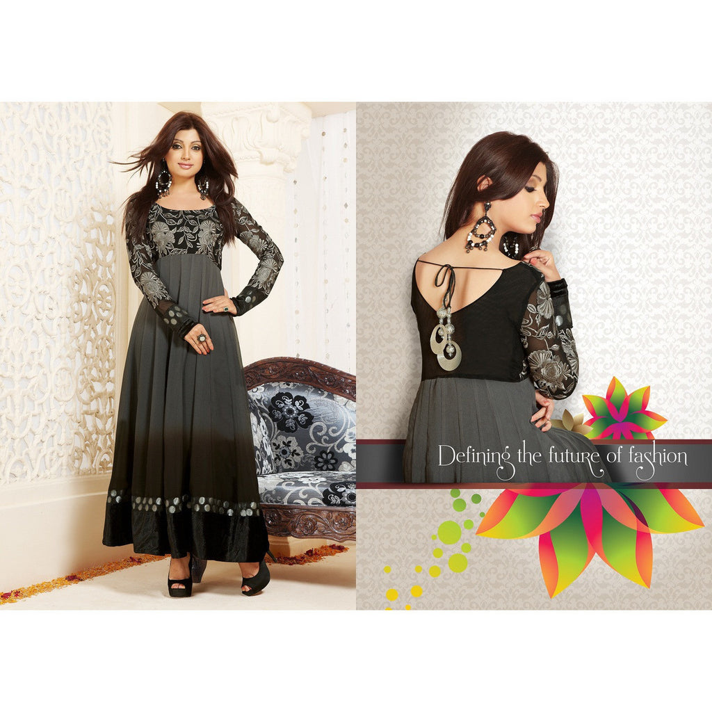 Hypnotex - Black Elegant Salwar Suits with Embroidery work with velvet lace border