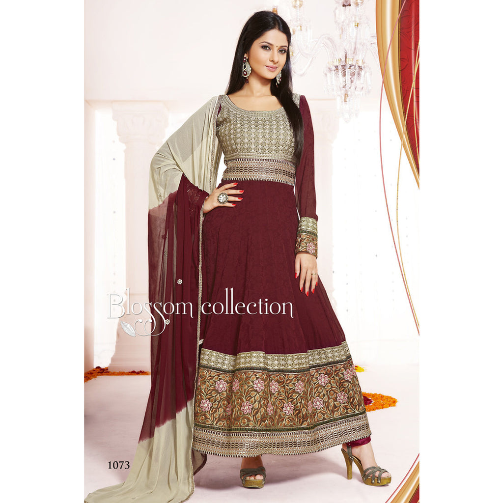 MAROON COLOUR VISCOSE ANARKALI SALWAR KAMEEZ