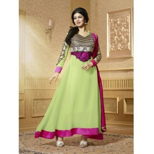 Ayesha Takia - Georgette Green Zari Work Semi Stitched Long Anarkali Suit - 15004