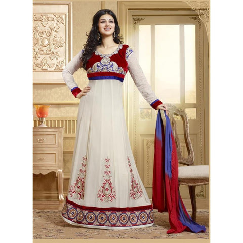 Ayesh Takia - Red and Blue georgette salwar kameez, suits - 15007
