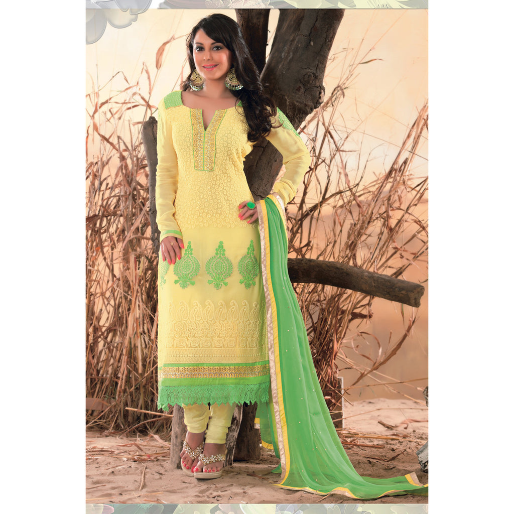 Minisha Lamba straight suit [d1801] - yellow georgette top, green nazneen dupatta with yellow and golden border