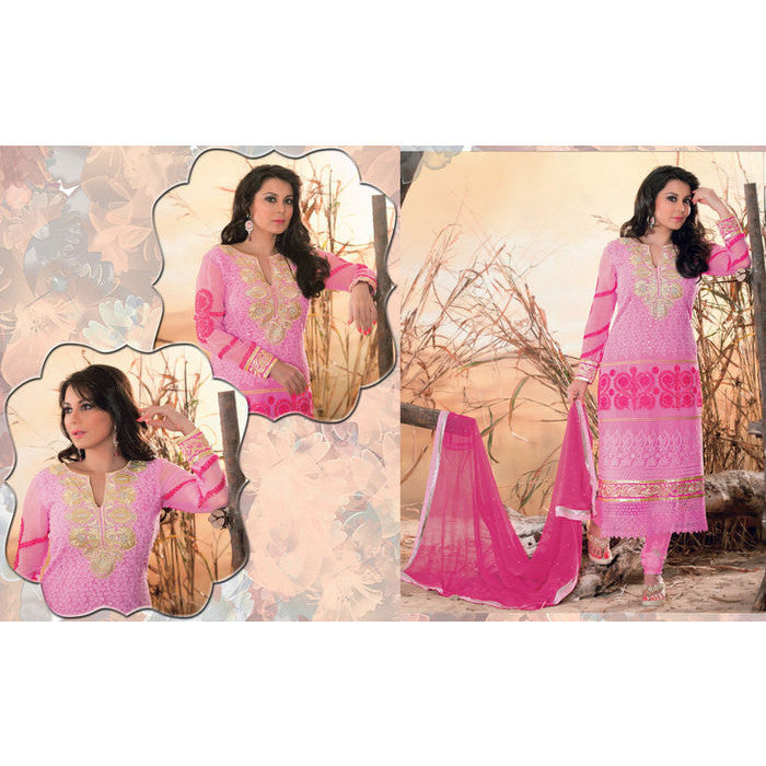 Hypnotex - Pink Georgette Semi Stitched Salwar Suits dress Alpita - 1808
