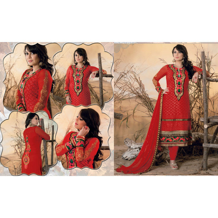 Hypnotex - Maroon Georgette Santoon Chiffon Semi Stitch Salwar Kameez Dress