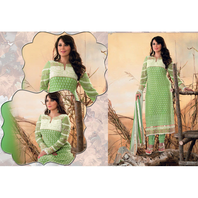 Hypnotex - Green Georgette Santoon Chiffon Semi Stitch Salwar Kameez Dress - ALPITA1815