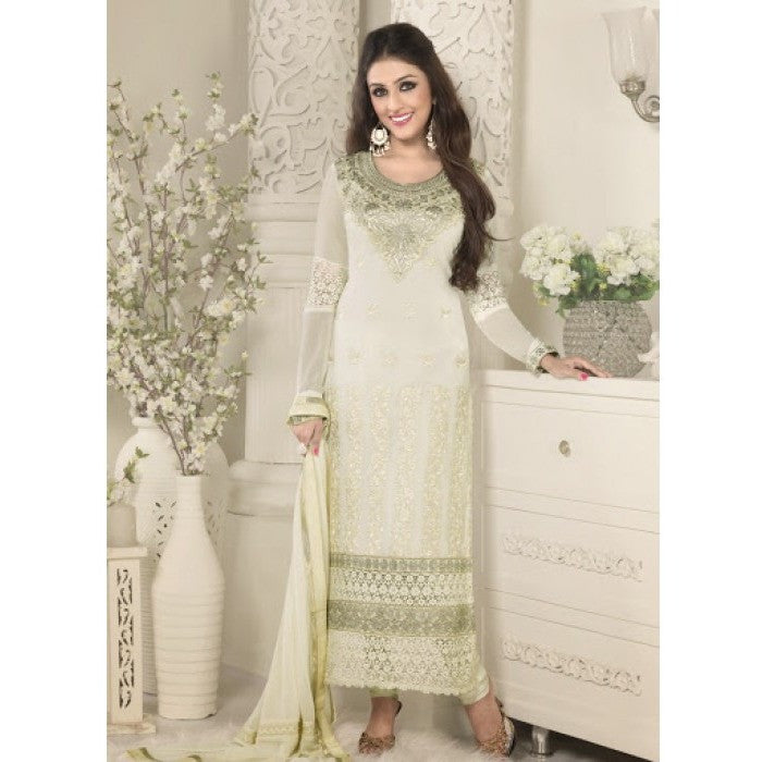 EMMA CREAM SEMI STITCHED GEORGETTE SALWAR KAMEEZ WITH CHIFFON DUPATTA