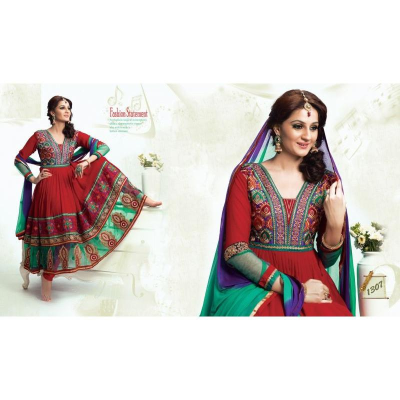 Adah Fashions - red color Georgette fabric semi stitched salwar suit with dupatta - 1307