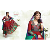 Adah Fashions - red color Georgette fabric semi stitched salwar suit with dupatta - 1307 - rang