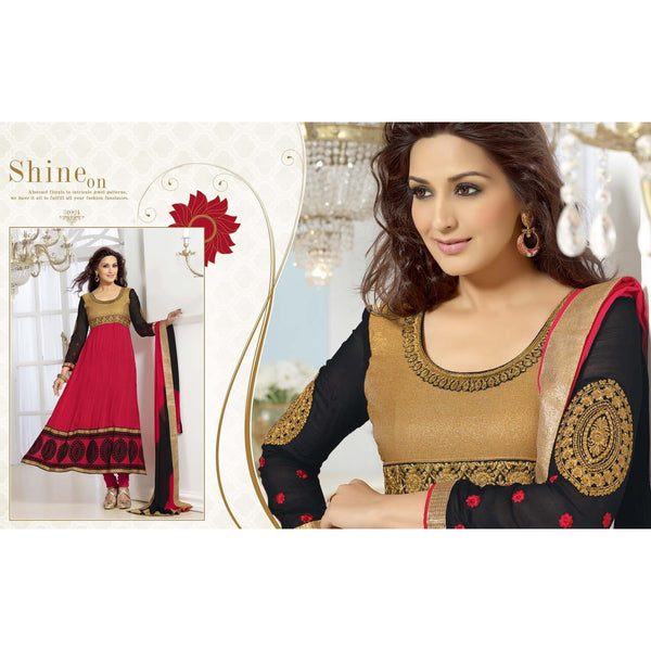 Sonali Bendre - Red Color Salwar Suit with Zari Embroidery & Lace Border, Red Color Santoon Bottom & Red & Black Color Najneen Dupatta.