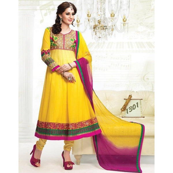 Yellow & Magenta Georgette Anarkali Salwar Kameez with Dupatta-432-1301 - rang