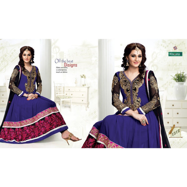 Adah Fashions - Georgette Blue Thread Work Semi Stitched Salwar Suit - rang