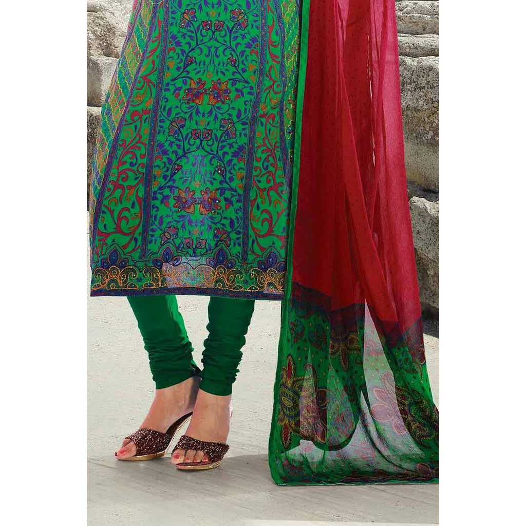 Green Cotton Salwar Kameez-515-3303B