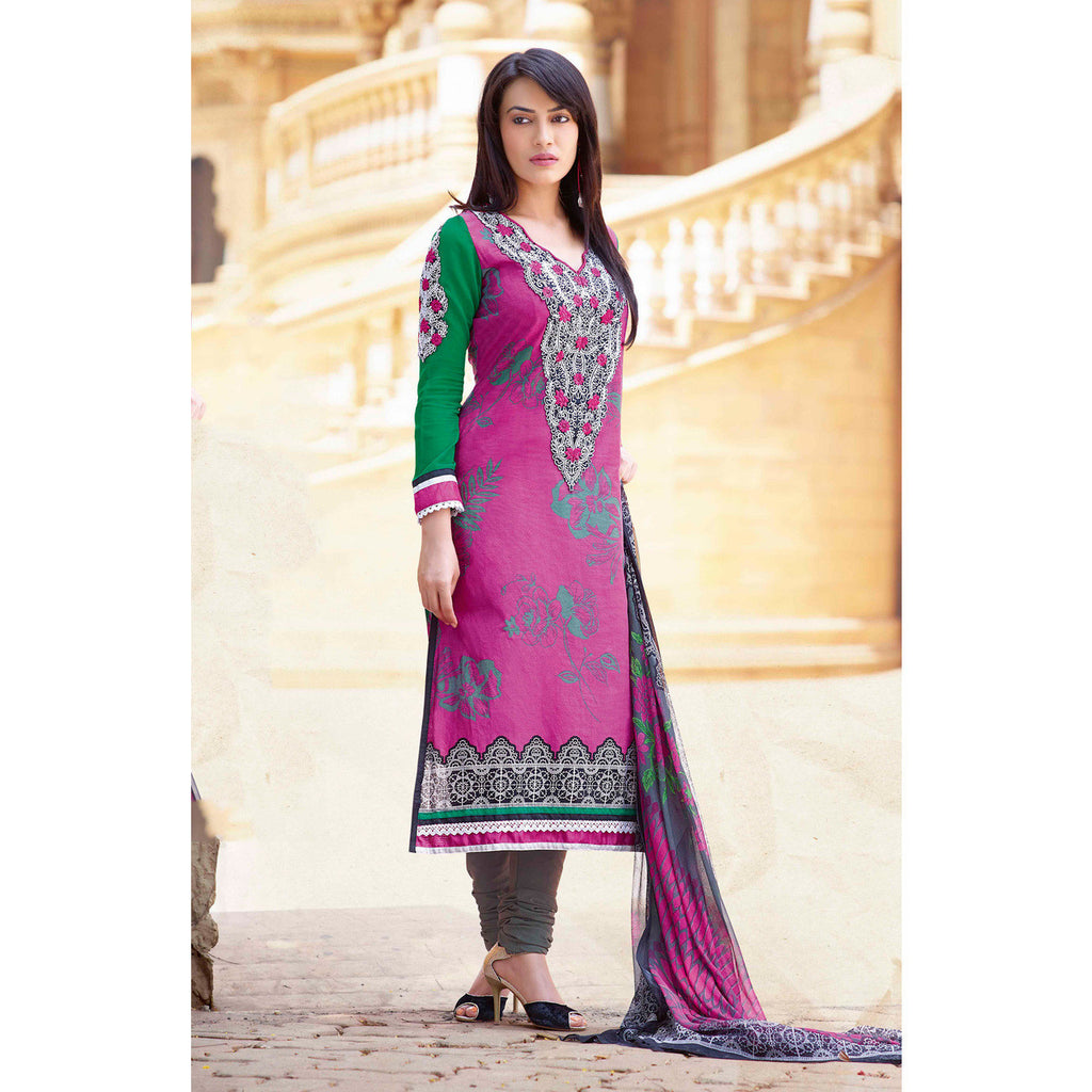 Hypnotex - Dashing Deep Pink Color Printed Unstitched Casualwear Salwar Suit Cotton Shirt Fabric With Resham Zaal Neck Embroidery