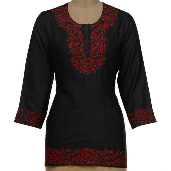 Red & Black Tussar Cotton Kurta - rang