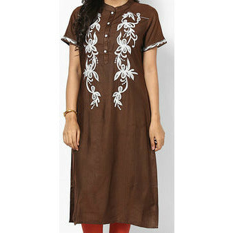 Brown Embroidered Kurti - rang