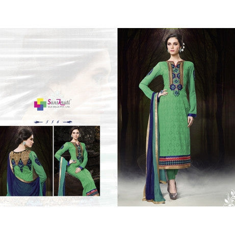 Hypnotex - Green Chanderi Cotton Salwar Suits Dress Materials
