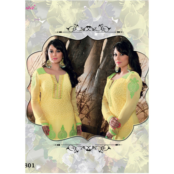 Minisha Lamba straight suit [d1801] - yellow georgette top, green nazneen dupatta with yellow and golden border - rang
