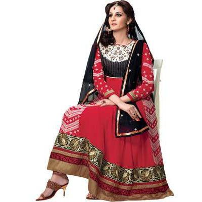 Adah Fashions - red color Georgette fabric semi stitched salwar suit with dupatta - 1314