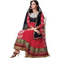 Adah Fashions - red color Georgette fabric semi stitched salwar suit with dupatta - 1314 - rang