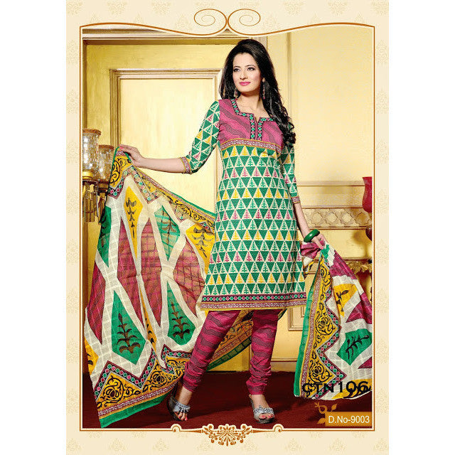 Green and Red Cotton Printed Salwar Kameez
