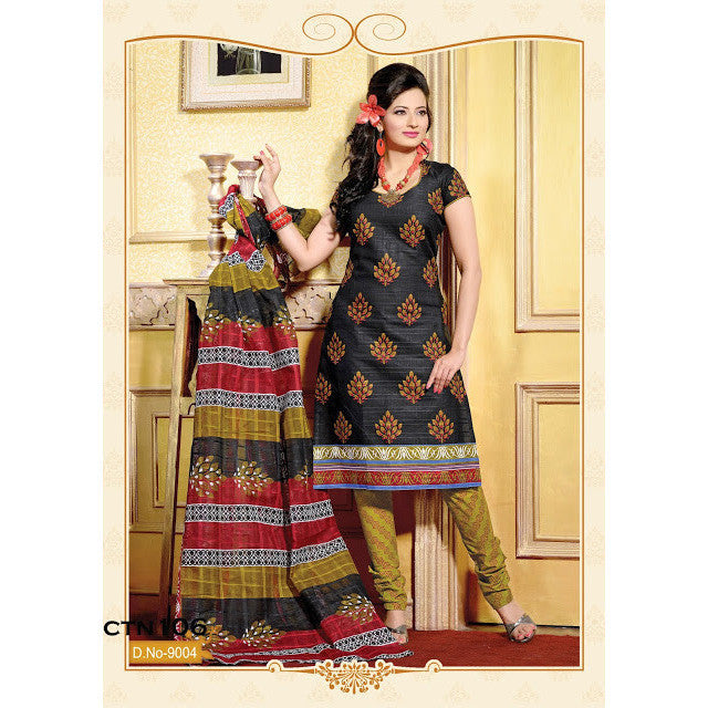 Black Printed Pure Cotton semi stitched Salwar Suit with dupatta
