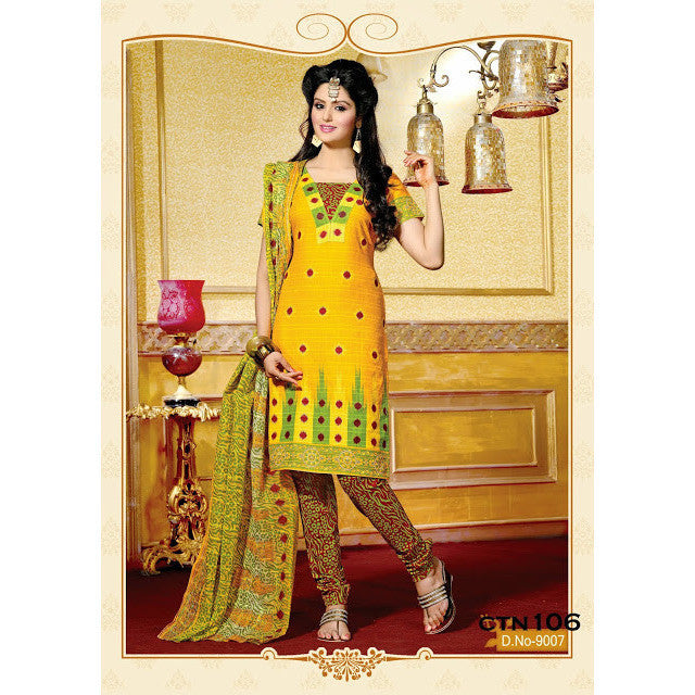 Bright Yellow Cotton Printed Salwar Suit Dress Material