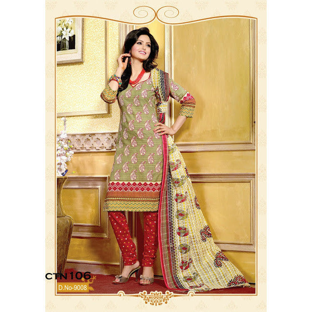 Cotton Designer Parrot Green Salwar Suit Dress Materials
