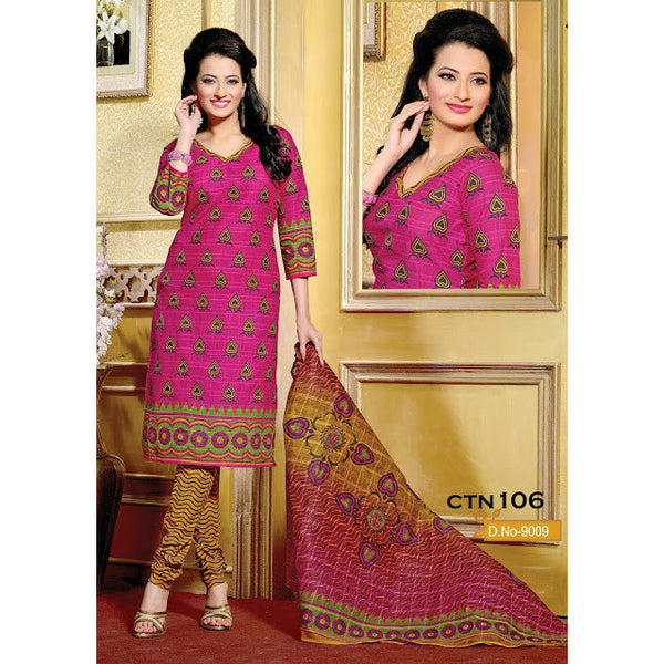 Dark Pink And Yellow Cotton printed Salwar Suit Dress Material