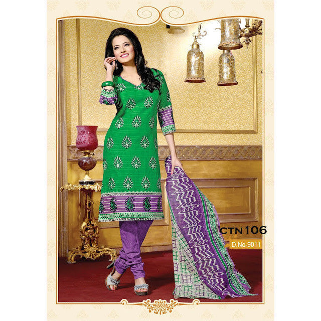 Green and Purple Cotton Printed Salwar Suit Dress Material