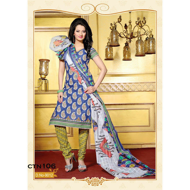 Light Blue Cotton Printed Salwar Kameez Dress Material