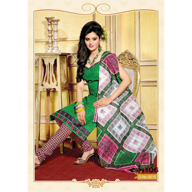 Green and Light Pink Cotton Printed Salwar Kameez Dress Material