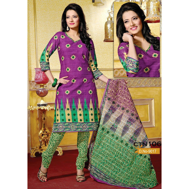 Dark Pink and Green Cotton Salwar Suits Dress Material