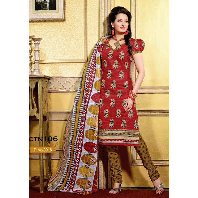 Orange and Yellow Cotton Printed Salwar Kameez Dress Material